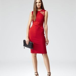 Reiss Red Evangeline Lace Panel Bodycon Dress 6